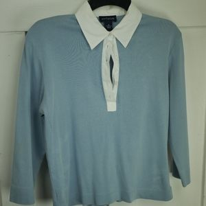 Ann Taylor White Colored Blue long sleeve shirt